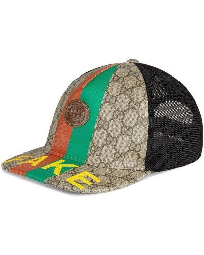 Baseball skórzany czarny czapka z daszkiem z łatami Gucci