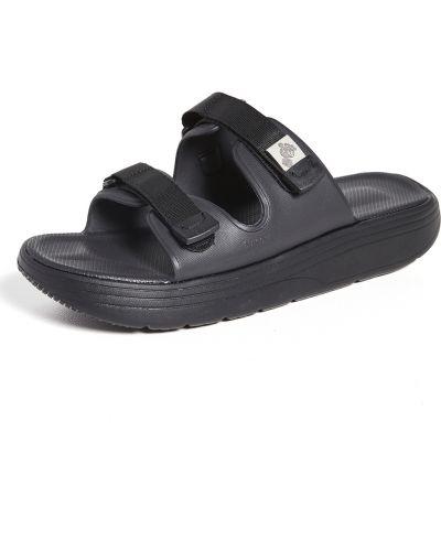 Czarne sandały na rzepy peep toe Suicoke