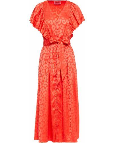 Платье миди атласное - зеленое Kate Spade New York