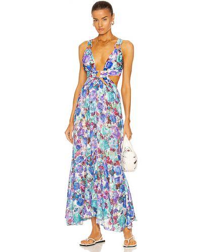 Сатиновое синее платье макси с подкладкой Patbo