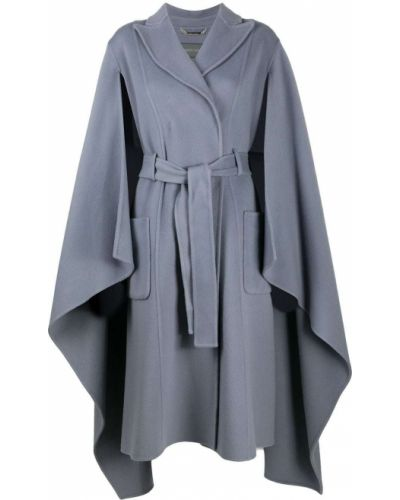 С рукавами синее шерстяное пальто с лацканами Alberta Ferretti