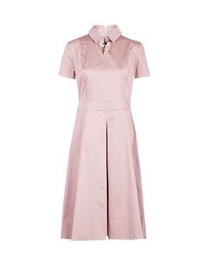 Хлопковое розовое платье с капюшоном для офиса Via Torriani 88