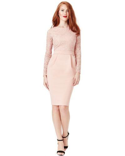 Гипюровое розовое вечернее платье с длинными рукавами City Goddess
