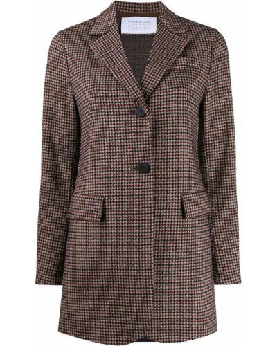 Темно-синяя длинная куртка твидовая Harris Wharf London