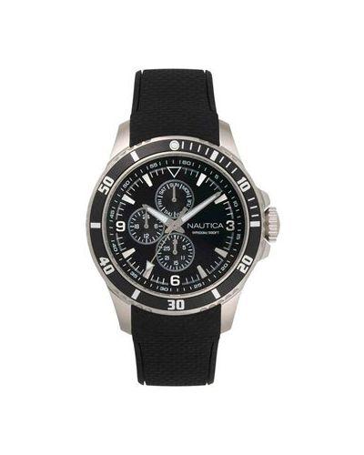 Часы механические водонепроницаемые с черным циферблатом Nautica