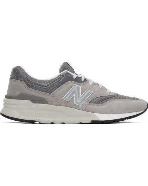Skórzane sneakersy białe z siatką New Balance