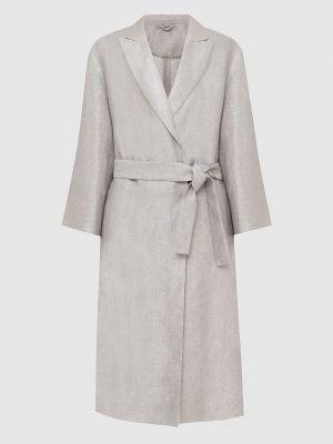 Льняное серебряное пальто Brunello Cucinelli