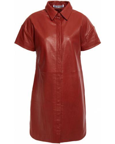 Оранжевое кожаное платье мини с подкладкой Walter Baker