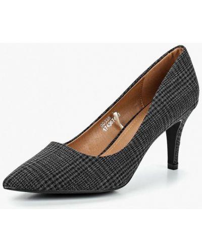 Туфли на каблуке серые лодочки Catisa