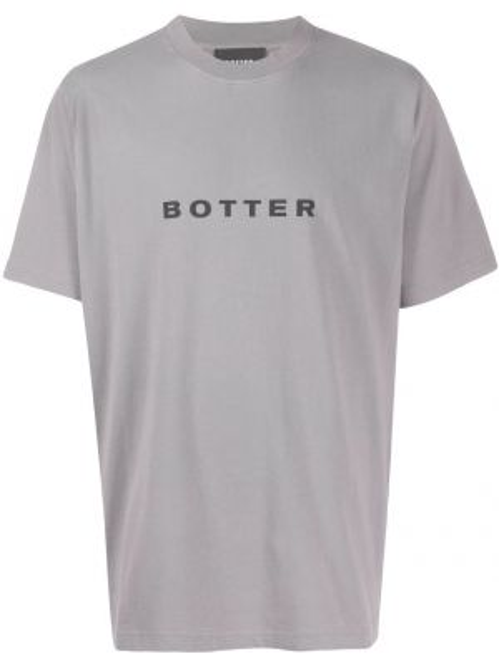 Прямая хлопковая серая футболка с круглым вырезом Botter