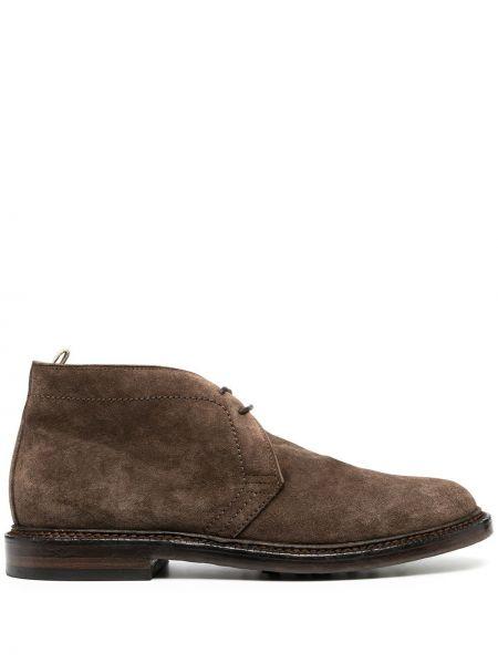 Ażurowy skórzany brązowy buty skórzane zasznurować Officine Creative