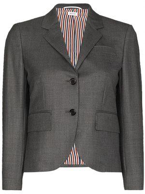 Однобортное серое шерстяное пальто Thom Browne
