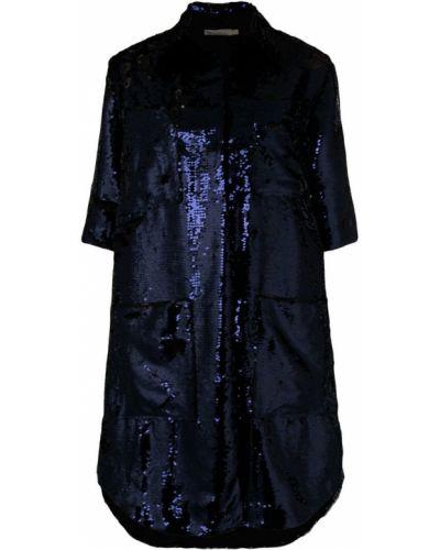 Синее пальто классическое с капюшоном с воротником Amen