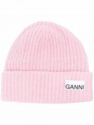 Шерстяная шапка бини - розовая Ganni