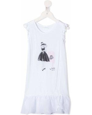 Koszula nocna biały z nadrukiem La Perla Kids
