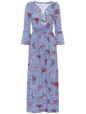 Платье миди на шнуровке морское Poupette St Barth