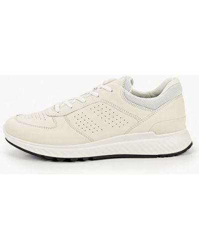 Бежевые кожаные кроссовки Ecco