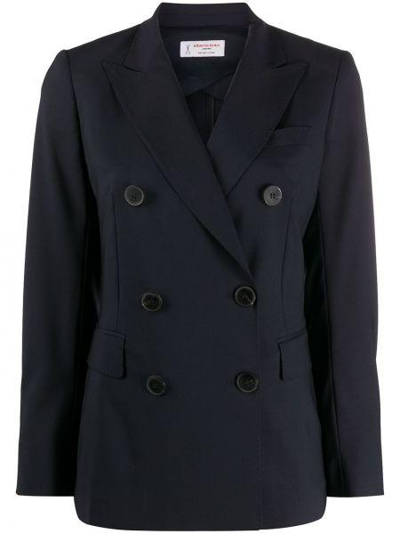 Синий пиджак двубортный с карманами Alberto Biani