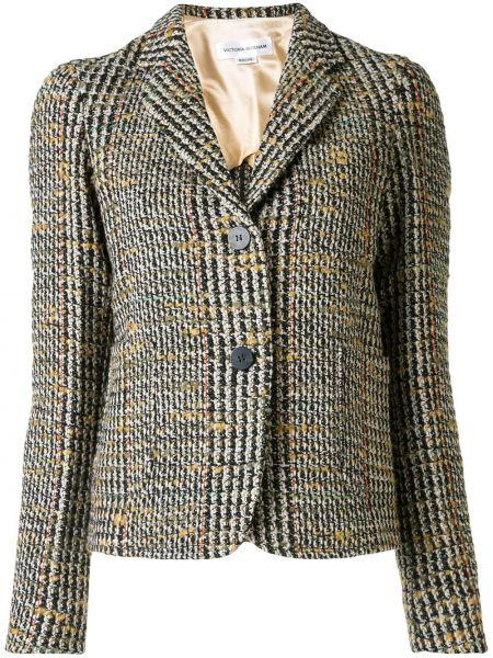 Черный приталенный пиджак с карманами с лацканами Victoria Beckham