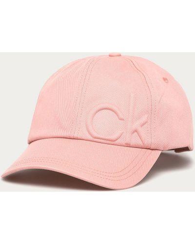 Różowy kapelusz bawełniany Calvin Klein