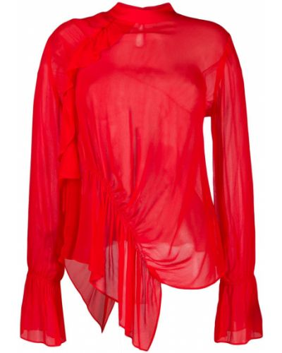 Асимметричная блузка с длинным рукавом с оборками Preen Line