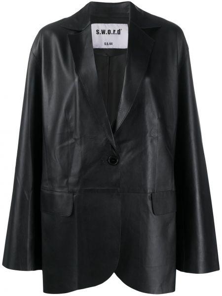 Черный кожаный длинное пальто с карманами S.w.o.r.d 6.6.44