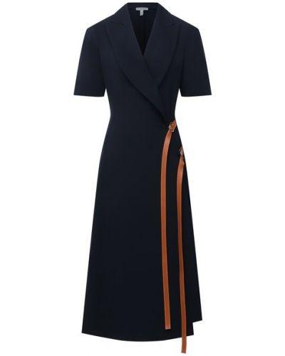 Кожаное синее платье с декоративной отделкой Loewe