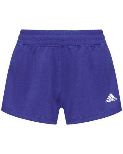 Fioletowe spodenki sportowe w paski Adidas