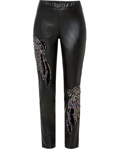 Кожаные черные брюки с пайетками Bonprix