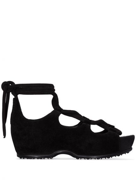 Кожаные черные босоножки на шнуровке Rosetta Getty