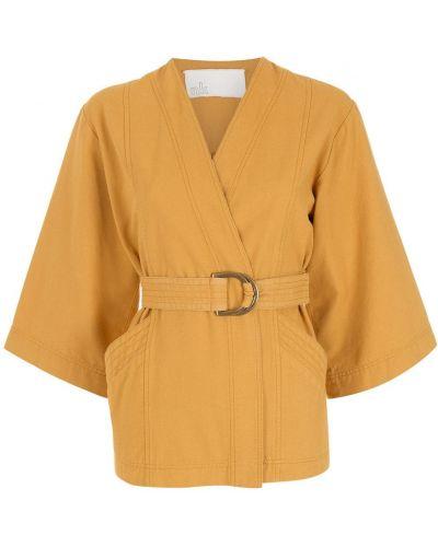 Желтая куртка с поясом Nk