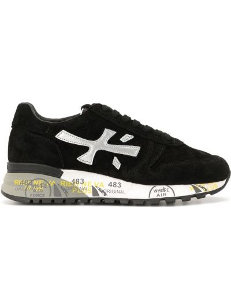 Нейлоновые черные кроссовки с нашивками на шнуровке Premiata