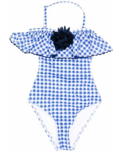 Слитный купальник синий с узором Monnalisa
