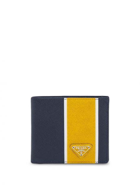 Niebieski portfel na monety z gniazdem z kieszeniami z prawdziwej skóry Prada