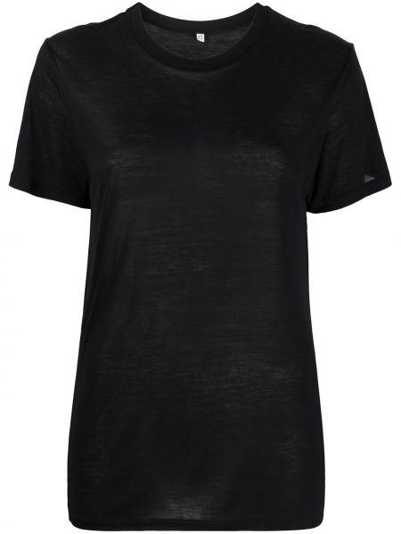 Czarny t-shirt materiałowy krótki rękaw Baserange