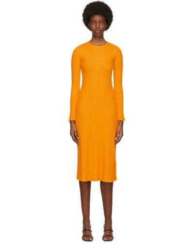Желтое платье макси с длинными рукавами с воротником Simon Miller