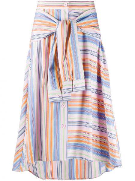 Хлопковая прямая розовая юбка с нашивками Sjyp