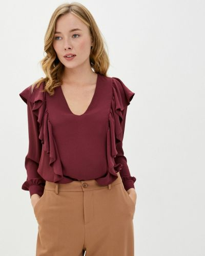 Бордовая блузка с оборками Imperial