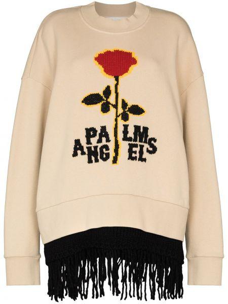 Wełniany bawełna czarny bluza frędzlami Palm Angels
