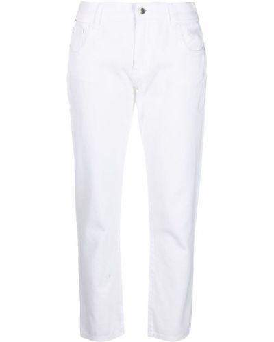 Белые укороченные джинсы с низкой посадкой на молнии Emporio Armani