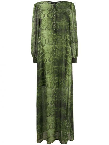 Свободное зеленое платье макси свободного кроя John Richmond