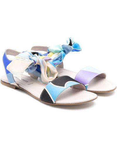 Niebieskie sandały skorzane płaska podeszwa Emilio Pucci Junior