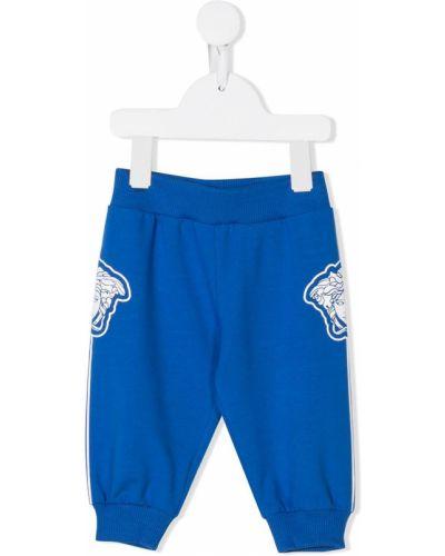 Prążkowane niebieskie spodnie bawełniane Young Versace