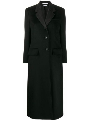 Черное кашемировое пальто классическое с воротником Thom Browne