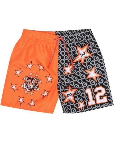 Оранжевые спортивные плавки Dolce & Gabbana Kids