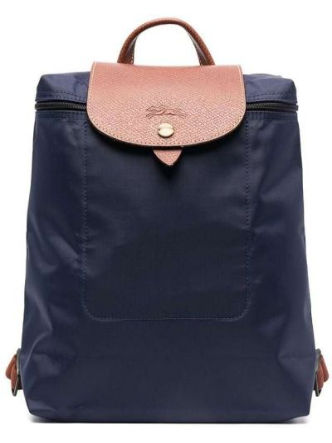 Синяя кожаная сумка на молнии Longchamp