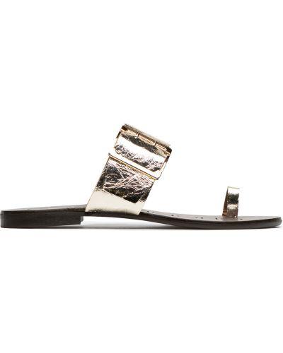Вьетнамки на каблуке - золотые Eva Longoria