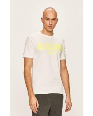 Biały t-shirt bawełniany z printem Moschino Underwear
