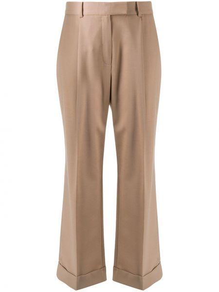 Шерстяные коричневые деловые свободные брюки свободного кроя Frenken