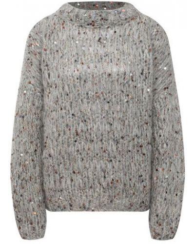 Шелковая серая свитер Brunello Cucinelli